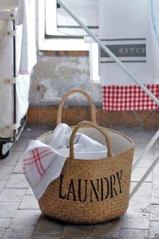 Wicker Cotton Lined Storage Basket - Laundry