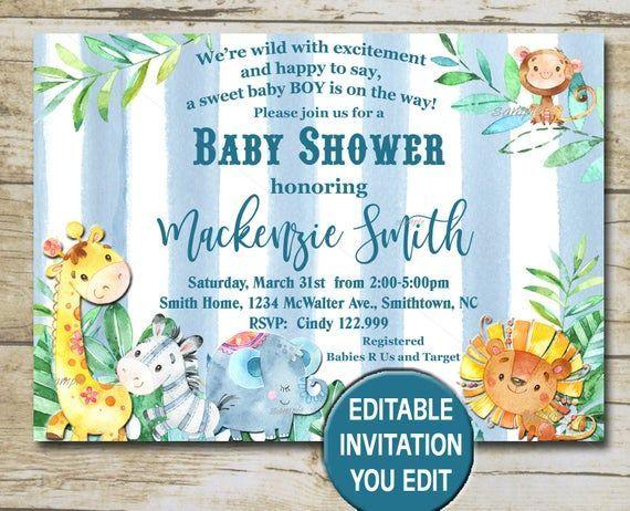 Safari Baby Shower Invitation Editable Invitation You Edit Jungle Baby Shower Invitation Blue Boy Baby Shower Invite