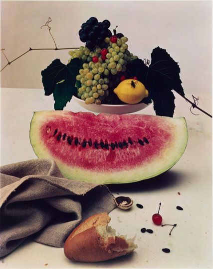 """Still Life With Watermelon,"" from 1947, is among the works on view at the Metropolitan Museum of Art in ""Irving Penn: Centennial."""