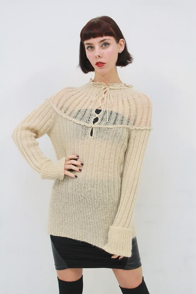 'TIGERLILY' Beige SHABBY CHIC BOHO Soft Open Hole Knit Jumper Sweater AUS 12 M