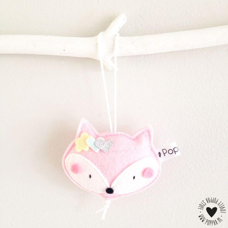 Decoratie hanger vosje lichtroze