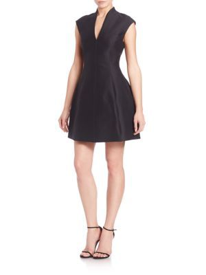 HALSTON HERITAGE Faille Cap-Sleeve Dress. #halstonheritage #cloth #dress