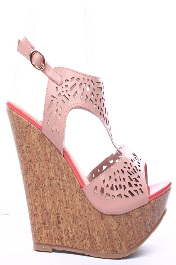 OFF PINK FAUX LEATHER CUTOUTS OPEN TOE SLING STRAP PLATFORM WEDGE,$26.99…