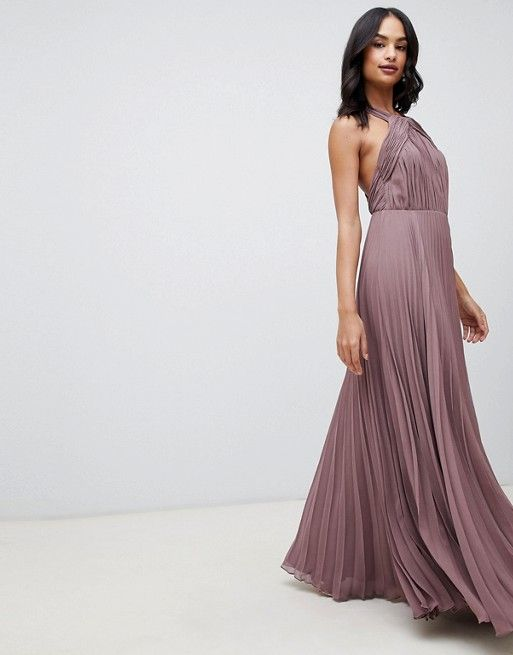 4aee0d63692 DESIGN pleated bodice halter maxi dress in 2019