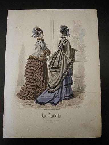 """Gonin G. - Gandini - Incisione a colori tratta da """"La novità. Giornale illustrato delle mode e dei lavori femminili. 13 Novembre 1873"""". 1873. Moda - Abbigliamento - Abiti - Cappelli - Rivista -  -  -"""