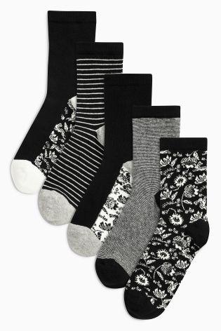 Acheter Lot de cinq paires de socquettes noires et blanches avec motif floral en dessous en ligne sur Next : France