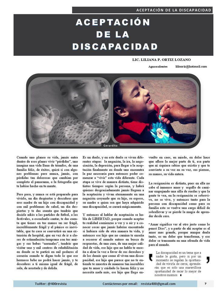 """""""Aceptación de la Discapacidad"""" por Liliana Ortiz Lozano. Liliana nos comparte, con el corazón en la mano, parte de su experiencia de vida como mamá de Gerardito (uno de cuatrillizos) quien tiene Síndrome de West (con Lesión Cerebral Severa); conlleva un mensaje de apoyo, amor y perseverancia así como de aceptación de la incapacidad.  Revista 400 Aguascalientes DesarrolloSustentable SindromedeWest #LilianaOrtizLozano Revista 400"""