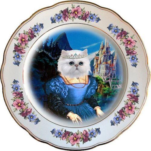 Persian Blue Plate - Altered Antique Porcelain Plate - Collectors Item - Art