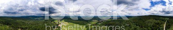 Panorama aerial view Rheingau-Taunus, Hohe Wurzel royalty-free stock photo
