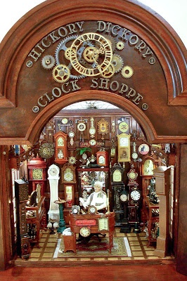 Miniature dollhouse clocks ~ Great source of ideas for clock shapes from professional miniaturist Connie Sauve (The China Doll) | Source: Good Sam Showcase of Miniatures