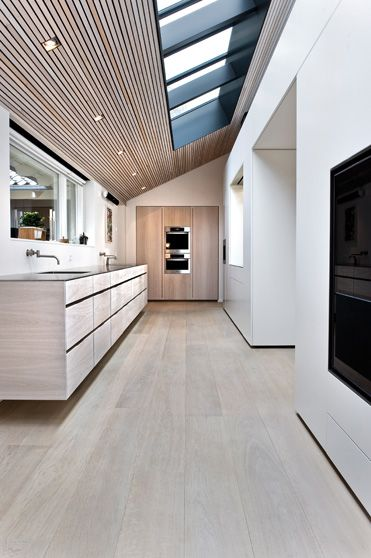 Kitchen with Dinesen Oak flooring and ceiling