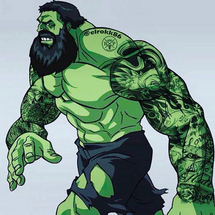 The hulk with a bread and tattoos