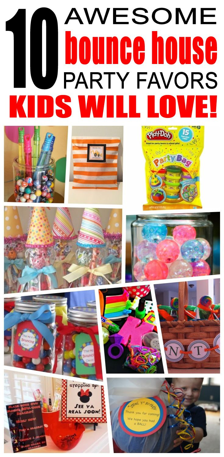 Great bounce house party favors kids will love. Fun and cool bounce house birthday party favor ideas for children. Easy goody bags, treat bags, gifts and more for boys and girls. Get the best bounce house birthday party favors any child would love to take home. Loot bags, loot boxes, goodie bags, candy and more for bounce house party celebrations.