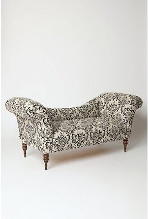 victorian: Black Linens, Antoinette Fainting, Fainting Sofas, Damasks, Urban Outfitters, Formal Living Rooms, Black White, Fainting Couch, Furniture Decor