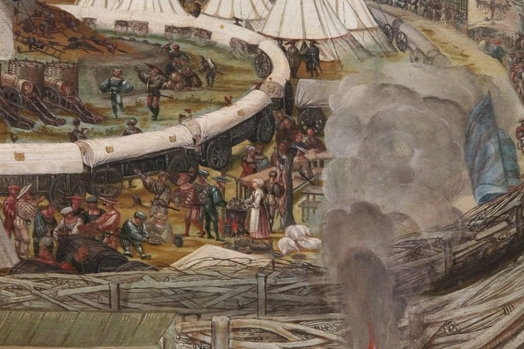 """Detail of """"Battle of Alesia"""" by Melchior Feselen. 1495-1538"""