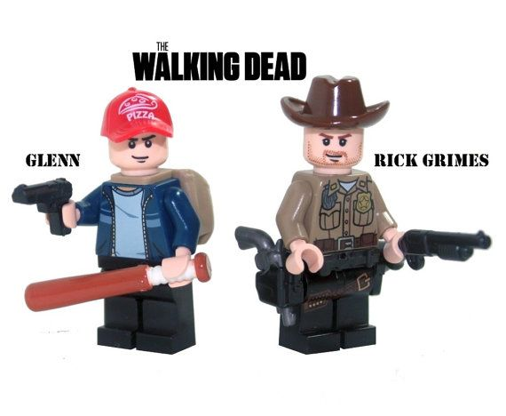Custom Lego Walking Dead RICK GRIMES and GLENN Minifigure Set