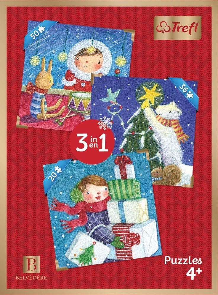 Casse-tête de Noël 3-en-1 - 3 casse-têtes de 20, 36 et 50 morceaux. -  Age : 4 ans et plus -  Référence : 035134 #Jeux #jouets #Enfant #Cadeau #Vacances #famille #Puzzel #CasseTete