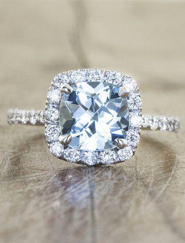Tabby Aquamarine Engagement Ring   Ken & Dana Design - Love that it's not a diamond