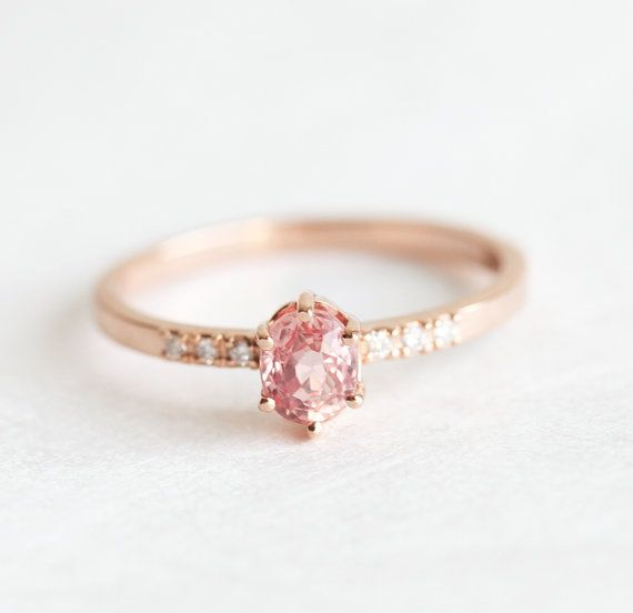 Rose Gold Sapphire Engagement Ring Simple Engagement by MinimalVS