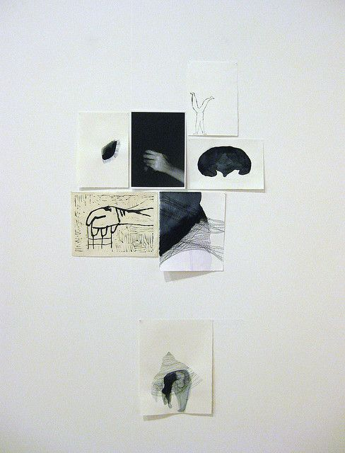08-01-14: Artist inspiration, composition of drawings on wall, styles of line and form, different surfaces (artist unknown)