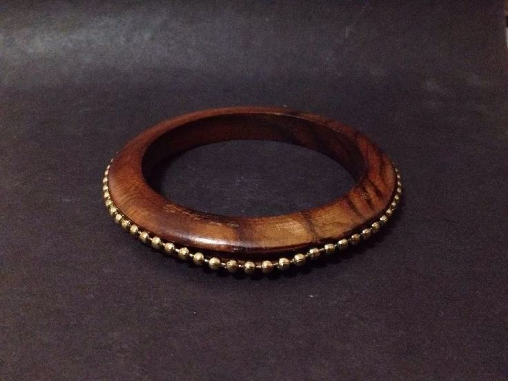 Estate Find - Pre Owned Timber and Gold Tone Beads Bangle