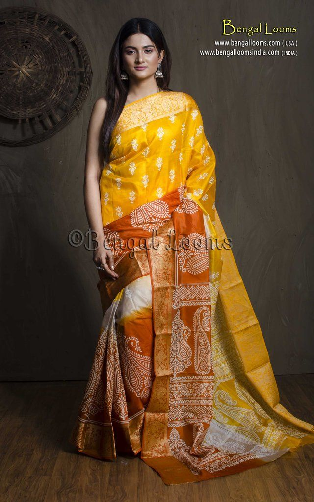 99037547c875d Printed Pure Silk Saree in Yellow and Orange