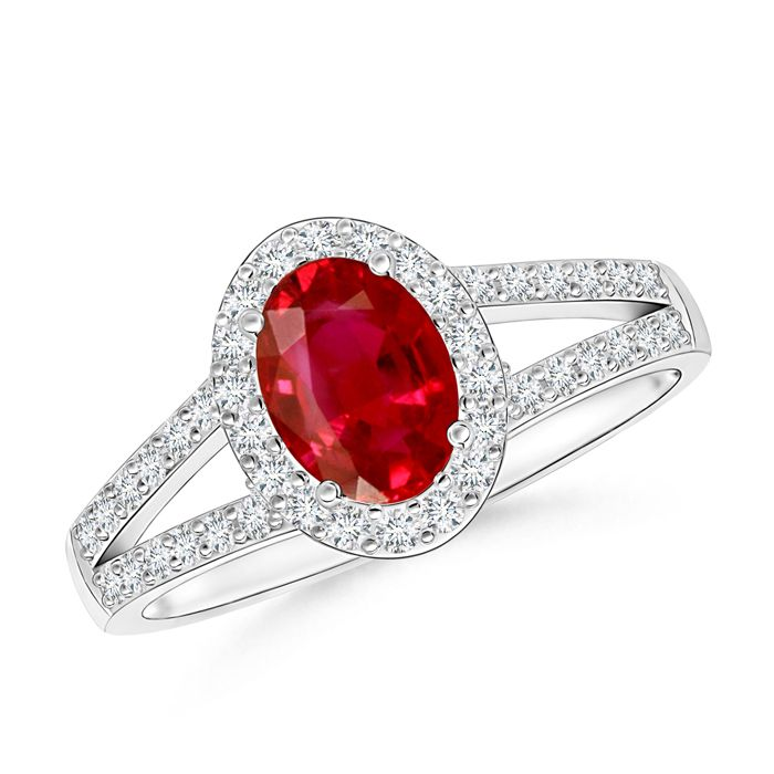 Something red for this Christmas. Split Shank Vintage Ruby Ring with Diamond Halo.