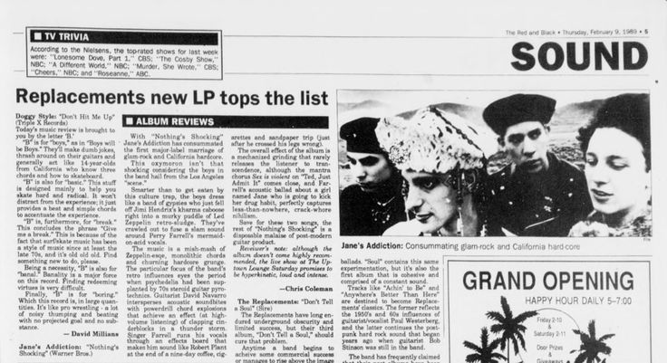 Jane's Addiction article, The Red and Black, Athens, Georgia. February 9, 1989.
