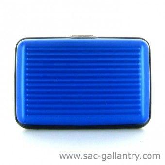 Porte cartes rigide bleu