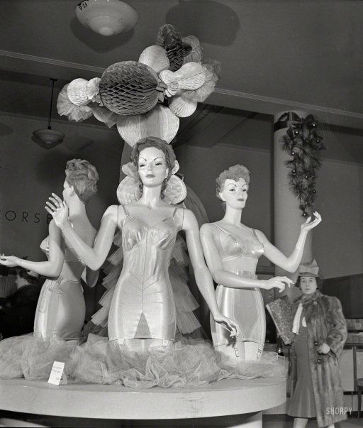 Corset display at R.H. Macy & Co. department store. December 1942. #fashion #1940s #nyc