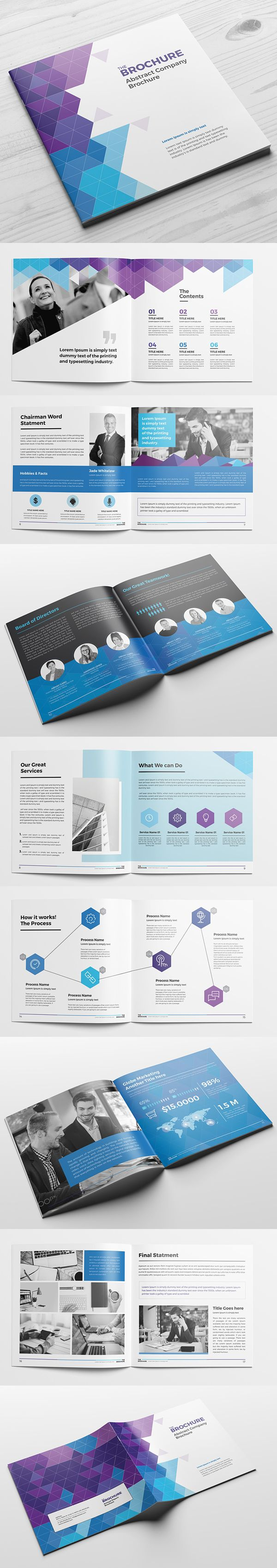 Creative Abstract Square Brochure Template #annualreport #booklet #brochuredesign #brochuretemplates #fashioncatalog #portfolio