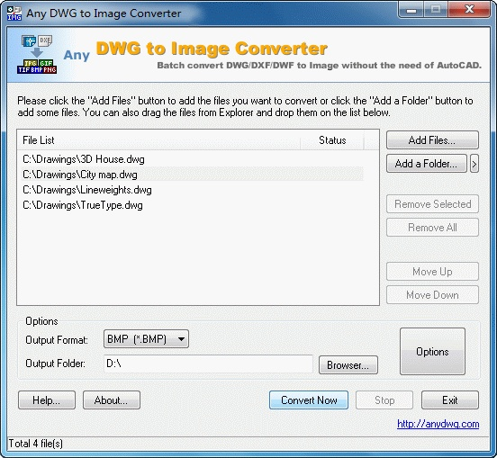 DWG to BMP is a batch converter that allows you to convert DWG and DXF files to TIF (TIFF), JPG (JPEG), BMP, GIF, PNG, TGA, PCX, WMF and EMF without the need of AutoCAD. Key Features: 1. Stand-alone utility - AutoCAD NOT required. 2. Convert DWG and DXF to Image in batches. 3. Supports every version of DWG/DXF files (Supports R2.5/2.6, R9, R10, R12, R13, R14, R2000/2002, R2004/2005, ... formats) 4. Very easy to use. 5. Multiple options for use.
