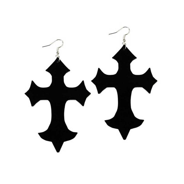 Grote perspex dikke gothic kruis oorbellen zwart - Occult gothic