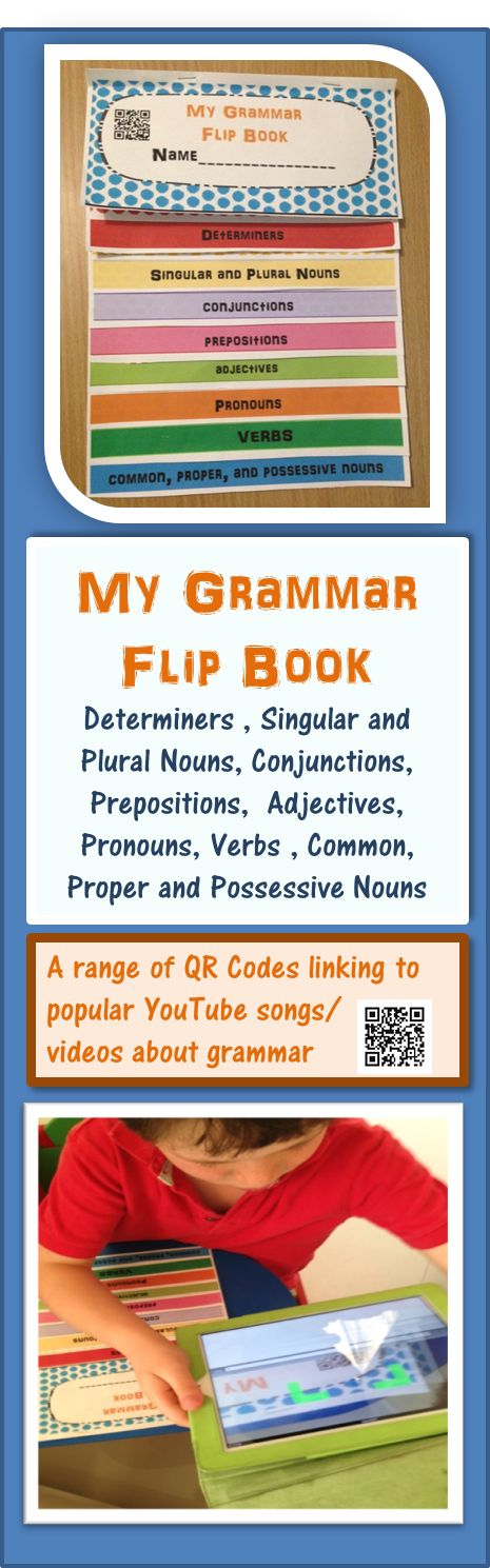 Using flip books in the classroom engage both visual and kinaesthetic learners. 'My Grammar Flip Book' is bright and colorful and also includes QR codes linking to 9 popular YouTube songs/videos catering for auditory learners. It is a great resource for Grades 1-5 and is Common Core aligned. Includes word lists & definitions to: Determiners, Singular and Plural nouns, Conjunctions, Prepositions, Adjectives, Pronouns, Verbs, Common, Proper and Possessive Nouns. #tpt #sarahanne #grammar…