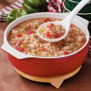 Tomato Chicken Rice Soup - 4 pt.  More like a stew.  Real comfort food!  I use 2 cans of Italian style diced tomatoes.