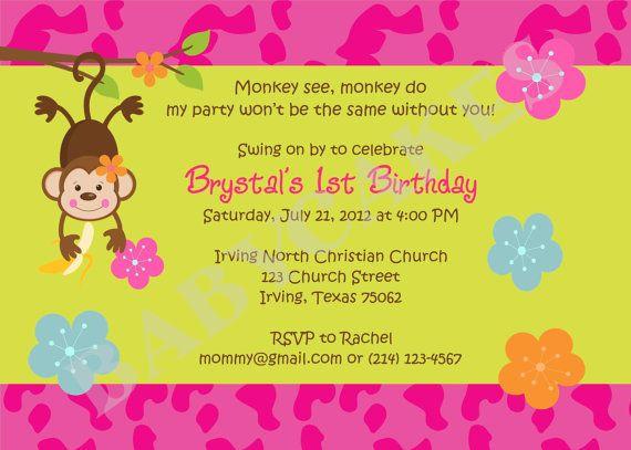 Mod Monkey Birthday Invitation Monkey Luau Monkey by jcbabycakes