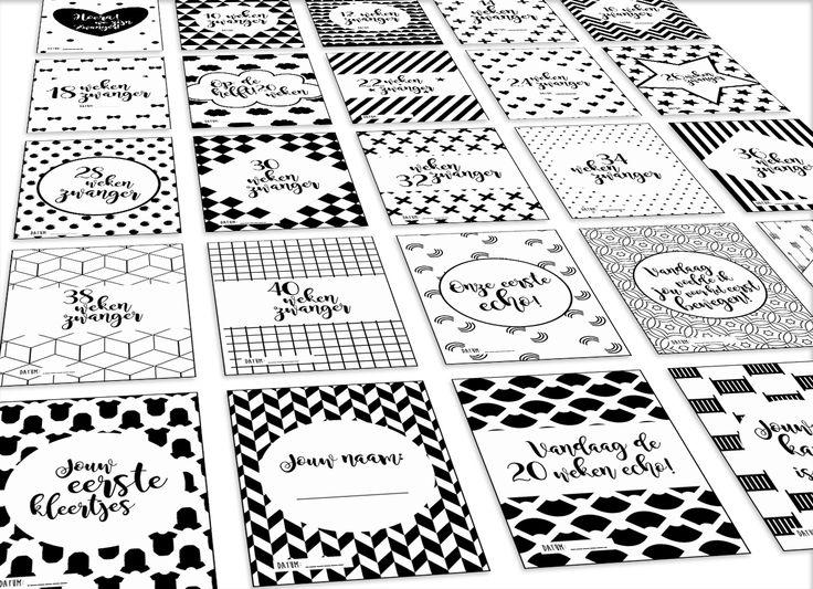 Mijlpaalkaarten baby super cute ♥ leg alle bijzonder momenten van jouw wondertje vast met deze zwart-wit kaarten. www.prettypresents.nl #mijlpaalkaarten #zwartwit #baby