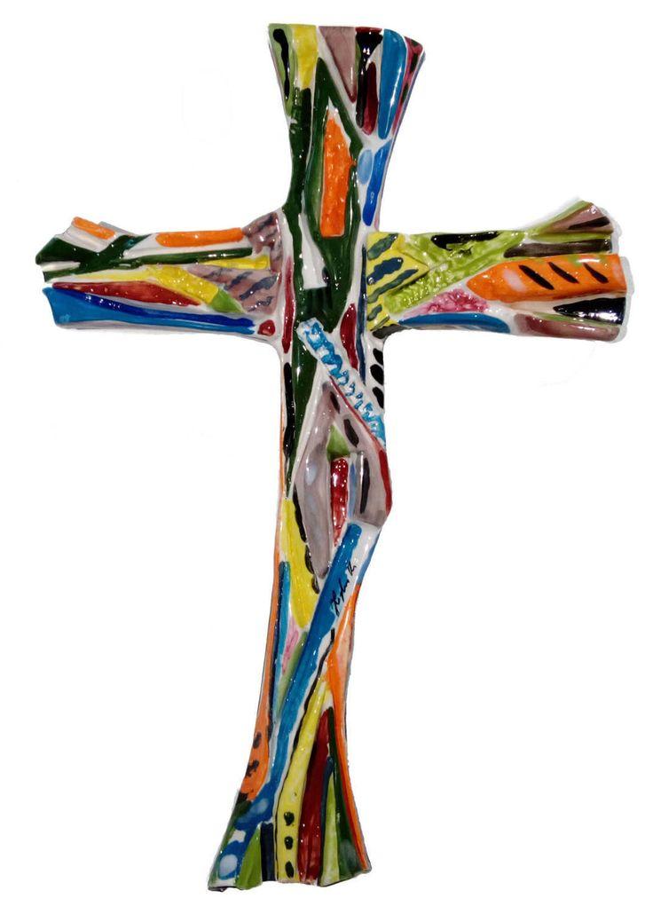 crocifisso in ceramica - cristo in croce di ITALDESIGNFOGLIARO su Etsy