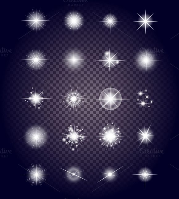 Set Glows Bright Star Light Firework by robuart on Creative Market