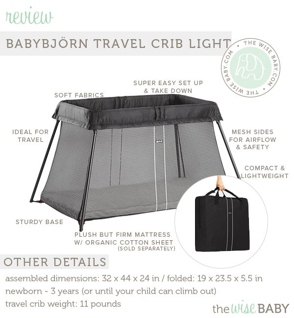 43BABYBJÖRN Travel Crib Light review By Lindsey on May 19, 2014  Since day one, I have been a big fan of BABYBJÖRN products.  We have loved the Original baby carrier, the ONE baby carrier and the high chair.  For the last couple weeks I have been putting the all new Travel Crib Light