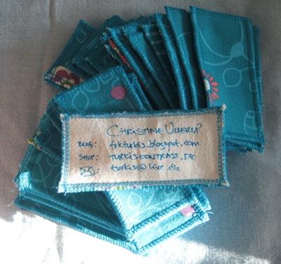 Frk TURKIS: DIY: Stof-visitkort (fabric business card)