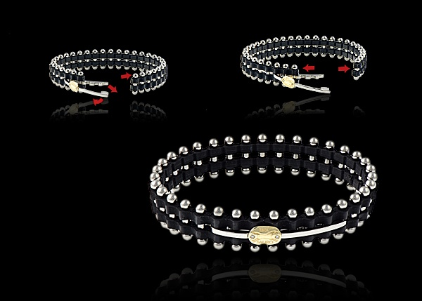 This stainless steel and rubber bracelet comes with 18k yellow gold and diamond logo.