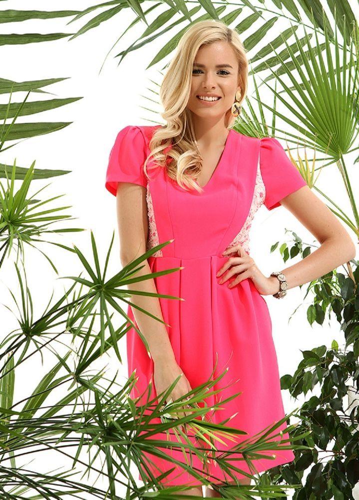 Damen Kleid  rose Fuchsia,Taille gefältelt,pink Designer Kleid mit spitze/ Gr.40
