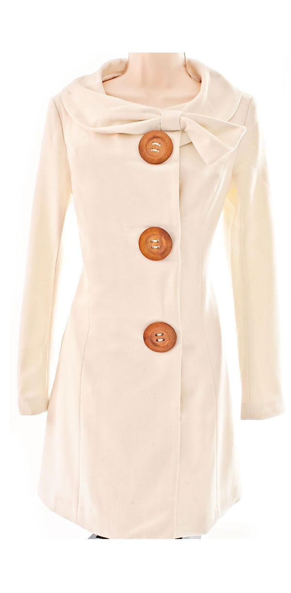 Cream Peacoat... with HUGE buttons-Love!