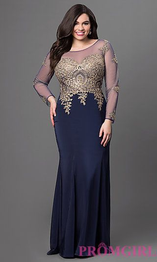 Long Sleeve Illusion Bodice Floor Length Dress at PromGirl.com