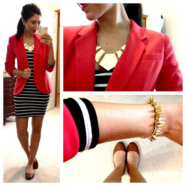 Bright blazer, striped dress, neutral shoes and bold gold jewelry.