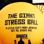 Jamaica Tourism Agency Places Giant Stress Ball in Times Square New York. If you can't bring people to Jamaica, bring Jamaica to people. It's simpler that it sounds. Instead of beautiful photos, they decided to get a giant yellow stressball with a smiley face in the middle of New York. In the middle of a city obsessed with black and everything stressful is a giant stressball. The mere sight of the every cute smiley face makes you want to destress.