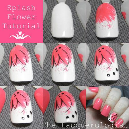 Splash Flower Nail Tutorial! #nailart #howto #stepbystep  Join http://bellashoot.com for more nail looks!