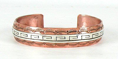 Authentic Native American Contemporary Navajo Copper and sterling silver Eternal Life or Greek Key Bracelet by Scott Skeets
