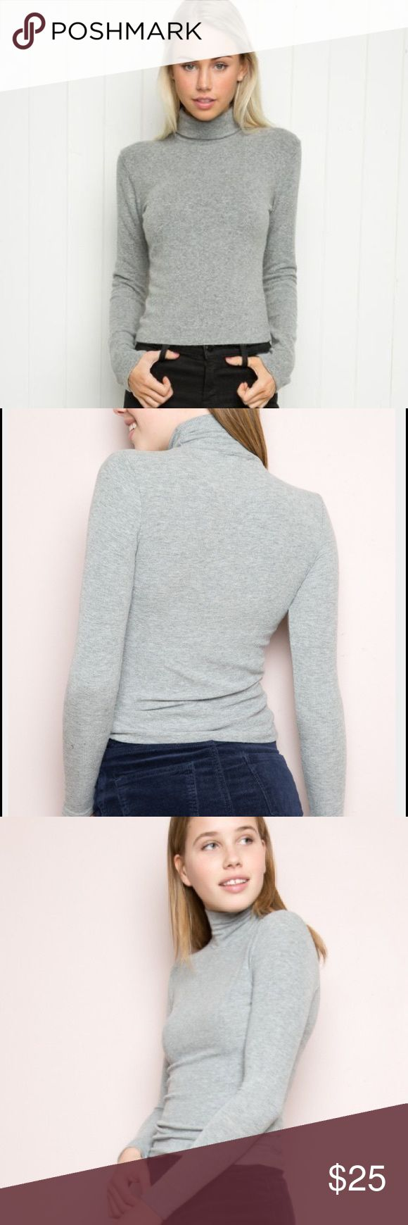 Brandy Melville light gray ribbed turtleneck top Brandy Melville light gray ribbed turtleneck top.  Only worn and washed once. Turtleneck sweater material but light. Brandy Melville Tops